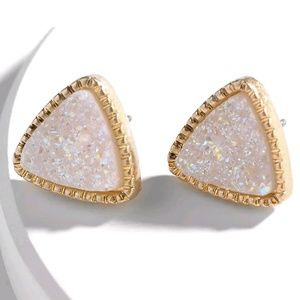 Jewelry - White Iridescent Triangle Druzy Stud Earrings